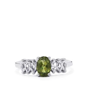 Moldavite Ring with White Topaz in Sterling Silver 1.30cts