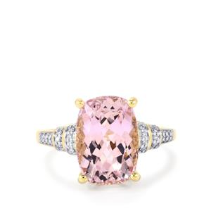 Mawi Kunzite Ring with Diamond in 14K Gold 6.63cts