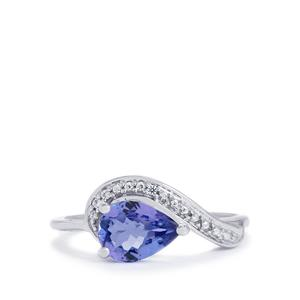 AA Tanzanite Ring with White Zircon in 10k White Gold 1.00cts