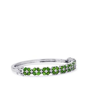 Chrome Diopside Bangle with White Topaz in Sterling Silver 7.97cts