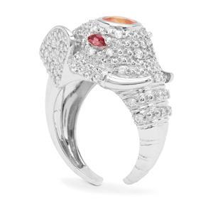 Mandarin, Rajasthan Garnet & White Zircon Sterling Silver Ring ATGW 2.41cts