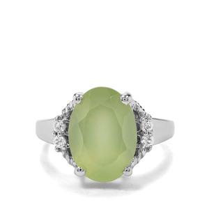 Prehnite & White Zircon Sterling Silver Ring ATGW 6.66cts