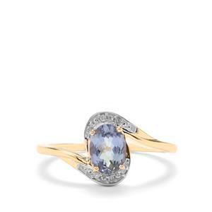 Bi Colour Tanzanite & Diamond 10K Gold Ring ATGW 0.96cts