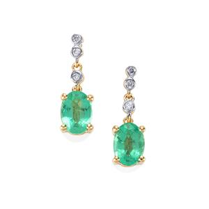 Ethiopian Emerald Earrings with Diamond in 18K Gold 1.49cts
