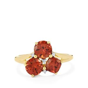 Zanzibar Zircon Ring with Diamond in 14K Gold 3.43cts