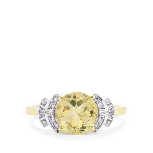 Serenite & White Zircon 10K Gold Lone Star Ring ATGW 2.13cts