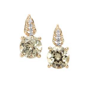 Csarite® & Diamond 9K Gold Tomas Rae Earrings ATGW 2.90cts