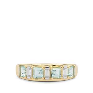 Aquaiba™ Beryl & White Zircon 9K Gold Ring ATGW 1.04cts