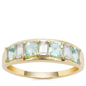 Aquaiba™ Beryl Ring with White Zircon in 9K Gold 1.04cts