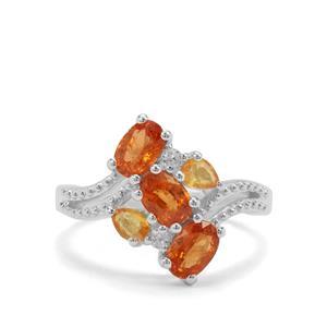 Mandarin Garnet, Yellow Sapphire & White Zircon Sterling Silver Ring ATGW 2.37cts