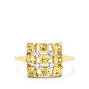 2.06ct Ceylon & White Zircon 9K Gold Ring
