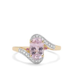 Nuristan Kunzite, Sakaraha Pink Sapphire & Diamond 9K Gold Ring ATGW 2.34cts