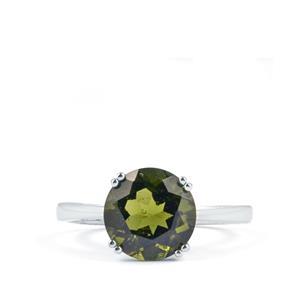 2.29cts Moldavite 10K White Gold Ring