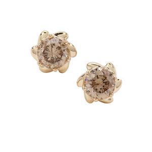 1/2ct Champagne Diamond 9K Gold Earrings