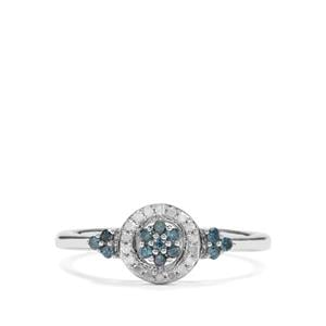 1/5ct Blue & White Diamond Sterling Silver Ring