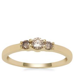 Champagne Diamond Ring in 9K Gold 0.35ct