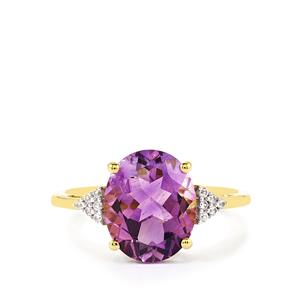 Moroccan Amethyst & White Zircon 9K Gold Ring ATGW 3.27cts