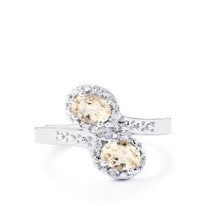 Mutala Morganite & White Zircon Sterling Silver Ring ATGW 0.77cts