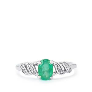 Zambian Emerald Ring with Diamond in 10k White Gold 0.74ct