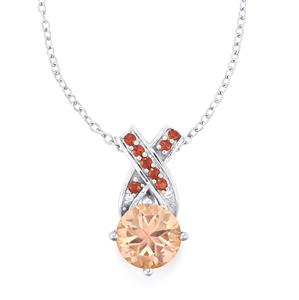 Galileia Topaz, Rhodolite Garnet & White Topaz Sterling Silver Pendant Necklace ATGW 2.44cts