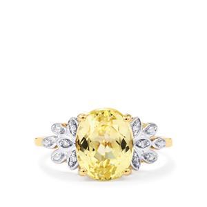 Canary Kunzite & Diamond 10K Gold Ring ATGW 3.64cts