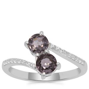 Burmese Spinel Ring with White Zircon in Sterling Silver 1.43cts