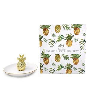 Gem Auras 'Pineapple' Ceramic Trinket Tray