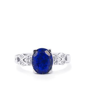 Sar-i-Sang Lapis Lazuli & White Topaz Sterling Silver Ring ATGW 2.69cts