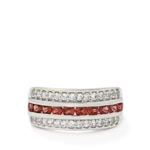 Rajasthan Garnet & White Topaz Sterling Silver Ring ATGW 1.39cts