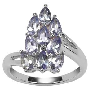 Bi Colour Tanzanite Ring in Sterling Silver 1.82cts