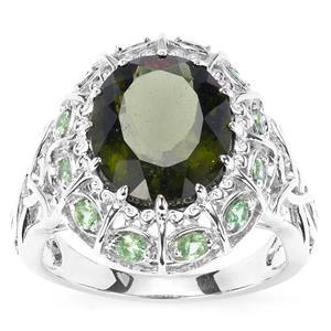 Moldavite Ring with Tsavorite Garnet in Sterling Silver 4cts