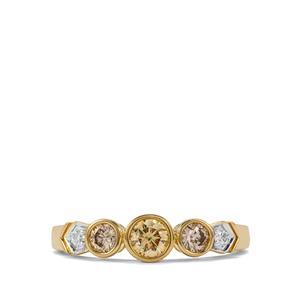 1/2ct Natural Coloured & White Diamond 18K Gold Tomas Rae Ring