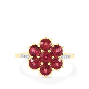 Comeria Garnet Ring with Diamond in 10k Gold 2.18cts