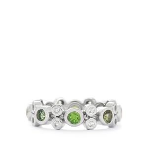 Rainbow Tourmaline & White Topaz Sterling Silver Ring ATGW 1.45cts