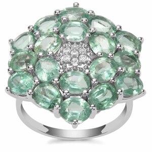 Odisha Kyanite Ring with White Zircon in 9K White Gold 7.85cts