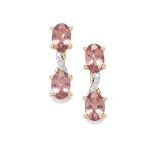 Mahenge Pink Spinel & Diamond 10K Gold Earrings ATGW 1.96cts
