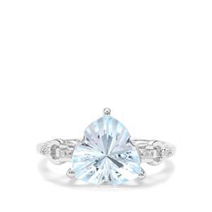 Lehrer Infinity Cut Sky Blue Topaz & Diamond 9K White Gold Ring ATGW 4.07cts