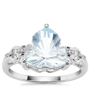 Lehrer Infinity Cut Sky Blue Topaz Ring with Diamond in 9K White Gold 4.07cts
