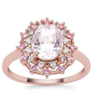 Natural Kunzite, Sakaraha Pink Sapphire Ring with White Zircon in 9K Rose Gold 2.81cts