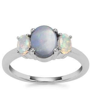 Crystal Opal on Ironstone Ring with Ethiopian Opal in Sterling Silver