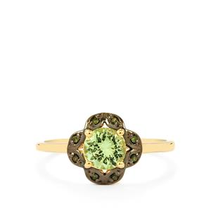 Merelani Mint Garnet & Green Diamond 9K Gold Ring ATGW 0.73cts