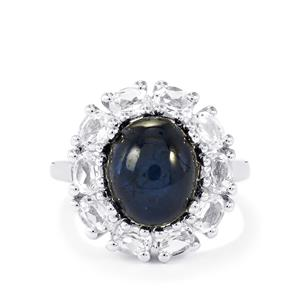 Blue Star Sapphire & White Topaz Sterling Silver Ring ATGW 9.18cts