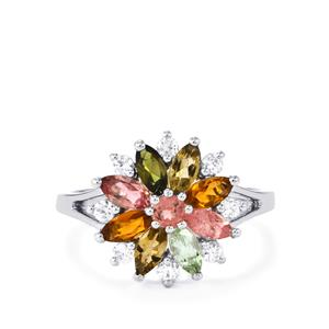 Rainbow Tourmaline Ring with White Zircon in Sterling Silver 1.66cts