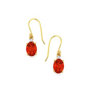Tarocco Red Andesine Earrings with Ceylon Sapphire in 10k Gold 1.97cts