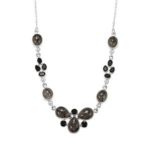 São Paulo Tourmalinated Quartz Necklace with Black Onyx in Sterling Silver 37.50cts