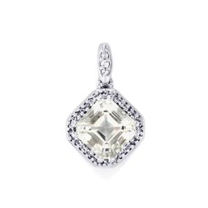White Topaz Pendant in Sterling Silver 4.23cts