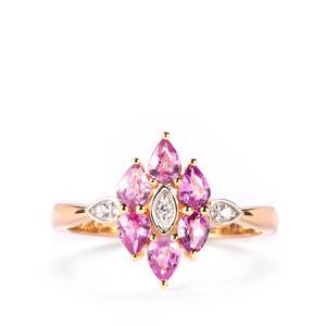 Natural Purple Sapphire & White Zircon 10K Gold Ring ATGW 1.06cts