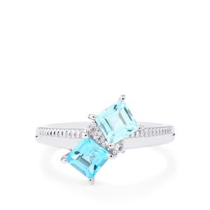 Swiss Blue Topaz, Sky Blue Topaz Ring with White Topaz in Sterling Silver 1.54cts