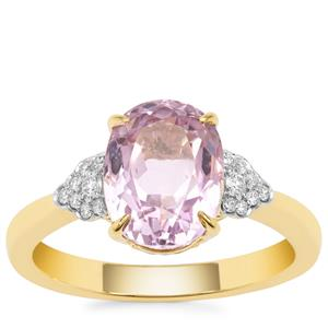 Nuristan Kunzite Ring with Diamond in 18K Gold 3.52cts