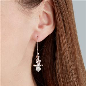 Galileia Topaz, Mozambique Garnet Capped Chickadee Bird Earrings with White Zircon in Sterling Silver 2cts
